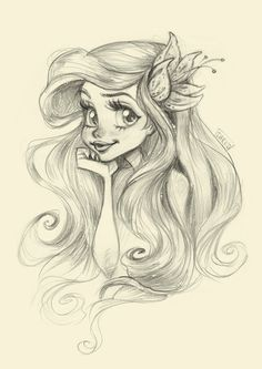 Disney princess ariel, disney girls, mermaid princess, drawings of mermaids Disney Sketches, Disney Drawings, Cartoon Drawings, Cute Drawings, Drawings Of Mermaids, Disney Princess Drawings, Disney Princess Tattoo, Mermaid Drawings, Pencil Drawings
