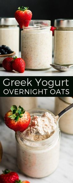 Easy Overnight Oats with Yogurt are a great healthy high-protein breakfast! - Easy Overnight Oats with Yogurt are a great healthy high-protein breakfast! This recipe only takes - Protein Overnight Oats, Overnight Oats With Yogurt, Easy Overnight Oats, Greek Yogurt Oatmeal, Overnight Breakfast, Yogurt Breakfast, High Protein Breakfast, Breakfast Parfait, Good Healthy Recipes