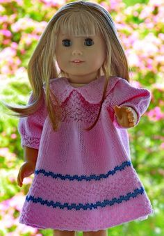 Eline ... dressed in adorable clothes knitted in yarn made of Egyptian cotton. Imagine your doll in this simple, excellent dress.  Design: Målfrid Gausel