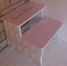 Custom Nursery Kids Step Stool Pink gold Cottage Shab Chic STEP STOOL Bathroom  Bench Kids Furniture and Decor by spoiltrottn on Etsy https://www.etsy.com/listing/222333506/custom-nursery-kids-step-stool-pink-gold