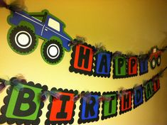 Monster Truck Happy Birthday Banner by PaperPiecingDreams on Etsy