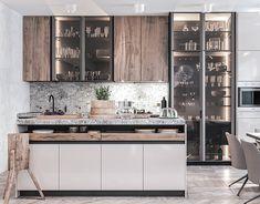 Apartment in a new building. on Behance Kitchen Cupboards, Kitchen Backsplash, New Kitchen, Kitchen Decor, Modern Kitchen Design, Interior Design Kitchen, Arch Interior, Kitchen Furniture, Home Kitchens