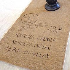 Table Runner / Burlap / French Advertisment