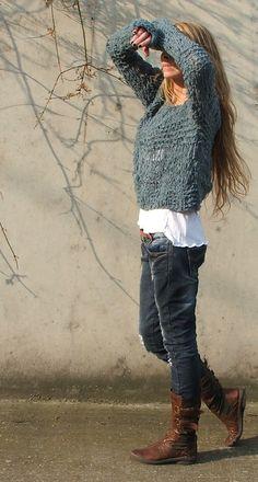 Teal blue grunge sweater / loose knit