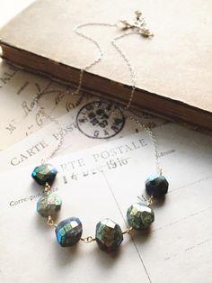 C l o u d y. S k y... Mystic labradorite nuggets on sterling silver and gold mixed metal boho chakra necklace by CrowandIris