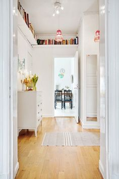 Ceiling Shelves to Store Your Books in Your Small Home Bookshelf Storage, Hallway Storage, Shelving, Bookshelf Ideas, Library Shelves, Office Storage, Ceiling Shelves, Door Shelves, Shelf Over Door