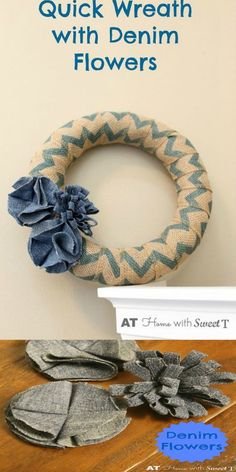 Easy to make denim flowers ~ recycle and decorate!