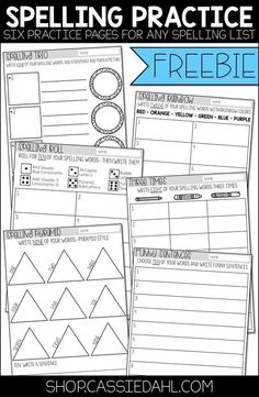 Spelling Practice: This freebie contains six practice pages that you can use with any spelling list. These sheets can be sent home as homework, placed at a word work center or used as a morning work assignment. Spelling Word Activities, Spelling Word Practice, First Grade Spelling, Spelling Words List, Spelling Homework, Word Work Activities, Spelling Centers, Spelling Ideas, Spelling Games