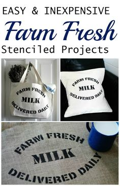 DIY Farmhouse decor with the Farm Fresh stencil by Knick of Time Vintage Sign Stencils | http://knickoftime.net