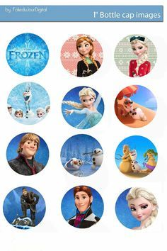 "Folie du Jour Bottle Cap Images: Frozen free digital bottle cap images 1"" 1 inch"