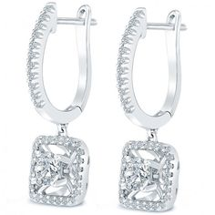 1.06 Carat E-SI2 Round Diamond Leverback Hanging Drop Earrings 18k White Gold - Drop Earrings - Earrings