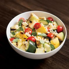 Summer Couscous Salad Recipe with Tomatoes and Grilled Squash