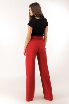 Красные широкие брюки клеш с завышенной талией. Купить в Lilo - производитель женской одежды: пальто, платье, сарафан, брюки