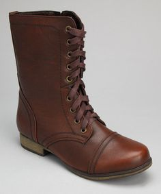 Another great find on #zulily! Brown Lace-Up Boot - Women by Shoes of Soul #zulilyfinds