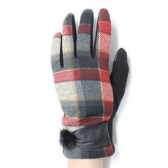 Cool plaid Warm fleece lined texting gloves with faux fur @ www.sunben.com - wholesale fashion accessories