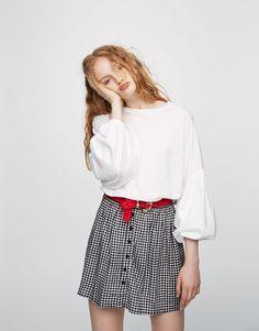 Pull&Bear - mujer - ropa - camisetas - camiseta manga abullonada - blanco - 09246399-V2017