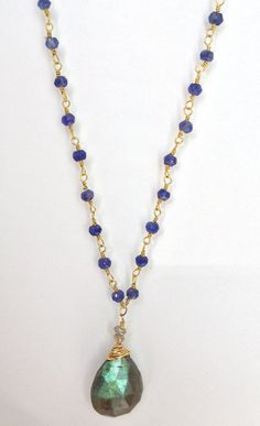 Rosary Style 14k gold filled Blue Iolite Chain by ROWE18JEWELRY, $104.00