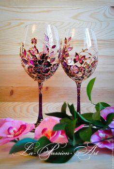 """Бокалы, стаканы ручной работы. Ярмарка Мастеров - ручная работа. Купить Бокалы для вина """"Яркий букет"""". Handmade. Фиолетовый"""