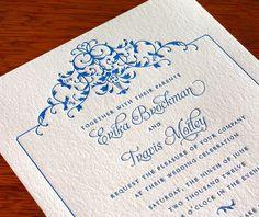 floral letterpress wedding invitation by invitations by ajalon