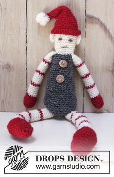 """Santa's Buddy - DROPS Jul: Hæklet DROPS nisse i """"Fabel"""" med striber - Free pattern by DROPS Design"""