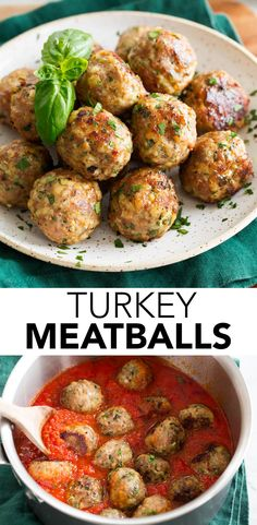Delicious Turkey Meatballs! Ground turkey is mixed with breadcrumbs, flavorful onion, garlic, parmesan cheese and herbs, then formed into bite size rounds and oven baked. Recipe on cookingclassy.com.