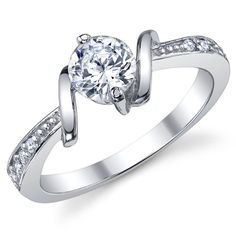 0.50 Carat Round Brilliant CZ Cubic Zirconia Ring Sterling Silver 925 Wedding Engagement Jewelry Sizes 5 to 9