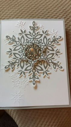New stamp set Festive Flurry Snowflakes slso got to use the new framelits with card Stampin' Up! Stamped Christmas Cards, Beautiful Christmas Cards, Homemade Christmas Cards, Beautiful Handmade Cards, Christmas Cards To Make, Christmas Greeting Cards, Greeting Cards Handmade, Handmade Christmas, Homemade Cards