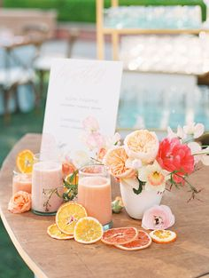 Smoothie bar from Jamba Juice for a wedding. Smoothies styled with dried fruit and flowers of peonies roses and sweet peas in pink orange peach and fuschia. A Wedding Photographer's Fairmont Grand Del Mar Wedding Fruit Wedding, Orange Wedding, Wedding Flowers, Peach Wedding Theme, Peach Weddings, Summer Weddings, Unique Weddings, Orange Party, Wedding Themes