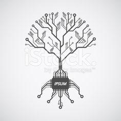 printed circuit board tree royalty-free stock vector art