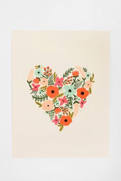 Rifle Paper Co. Floral Heart Print   #UrbanOutfitters    Pin a Room, Win a Room: Enter to win the best room ever from Urban Outfitters! To enter, visit contests.urbanout... and pin your 10 favorite UO home items! #urbanoutfitters