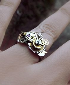 'Dreams of steam'  Unisex watch gear Steampunk ring