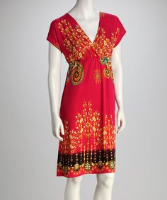 Take a look at this Fuchsia Floral Scroll Surplice Dress by jon & anna on #zulily today!