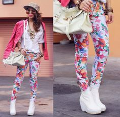 Oasap Spiked Snapback, Clothingloves Coral Leatherette Jacket, Romwe White Artist Blouse, Vivilli Floral Pants, Deena & Ozzy Platform Boots