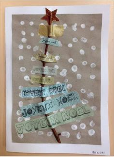 Une petite participation pour Noël pour celles (ou ceux) qui n'ont pas encore d'idées pour une carte de voeux. Ce sont des cartes très simples à réaliser. Une petite branchette, des bandelettes « Joyeux Noël » de différentes tailles, une étoile brillante…...