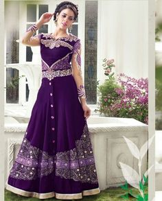 Purple embroidered anarkali suit   1. Purple embroidered velvet anarkali suit2. Thread embroidered yoke and sleeves3. Purple blare with front slit3. Comes with matching bottom and dupatta4. Can be stitched upto size 42  inches