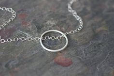 silver circle necklace delicate chain detail by greygoosegifts