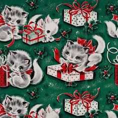 Vintage Christmas Kitten Gift Wrap, ca. * 1500 free paper dolls Christmas gifts artist Arielle Gabriels The International Paper Doll Society also free paper dolls The China Adventures of Arielle Gabriel * Vintage Christmas Wrapping Paper, Vintage Christmas Images, Christmas Gift Wrapping, Christmas Paper, Retro Christmas, Vintage Holiday, Vintage Cards, Vintage Paper, Kitsch