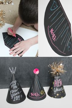 Holidays: Chalkboard Party Hats Check out this easy tutorial to make chalkboard party hats - your guests will love customizing their own!Check out this easy tutorial to make chalkboard party hats - your guests will love customizing their own! New Years Hat, Kids New Years Eve, New Years Eve Party, New Year's Eve Crafts, Holiday Crafts, Crafts For Kids, New Year Diy, New Year Gifts, Chalkboard Party