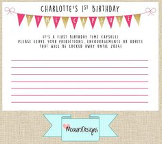 First Birthday Time Capsule Cards by MoauroDesigns on Etsy