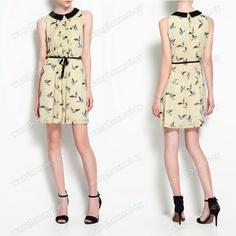 Contrasting Collar Chiffon Sleeveless Dress with Bird Print | eBay