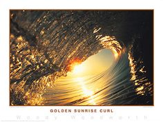 Surfing Golden Sunrise Curl California Classic Poster Print ~available at www.sportsposterwarehouse.com