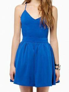 Sapphire Sexy Deep V Neck Back Crossed Strap Backless A-line Dress