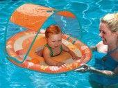 Swimways Baby Spring Float Sun Canopy - Orange with designs Baby Swimming, Swimming Pools, Baby Float, Sun Canopy, Green Turtle, Baby Design, Baby Toys, Sims, Orange