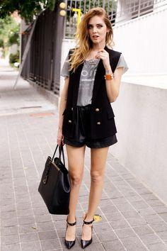 sleeveless jacket with leather shorts