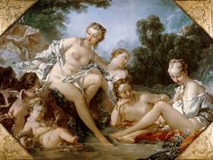 François Boucher - Nymphs and taking a bath Amouretten