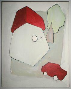 acryl / edding on canvas [2004]  24 x 31 cm 'huisje boompje beestje'