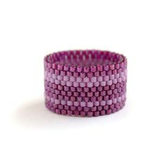 Wide statement band ring Unique seed bead jewelry Purple band