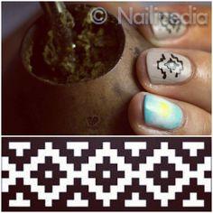 9 de Julio Nail Art - Guarda Pampa (traditional Mapuche pattern) - Argentina