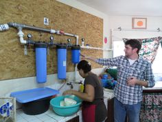 missionlazarusinterns:    Seth explaining the water purification system for the C.I.D.T in San Marcos. Using filters and UV light, this system provides clean drinking water for the students and teachers. Very cool. - Ali