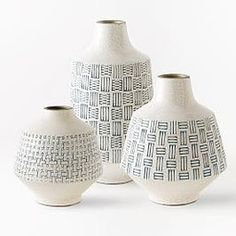 Basketweave Ceramic Vases